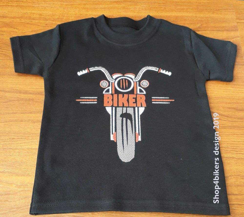 Black red biker motorcycle toddler baby childrens kids t-shirt 100% cotton
