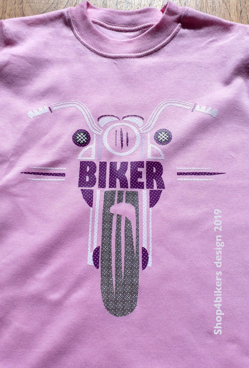 Pink Purple biker motorcycle toddler baby childrens kids t-shirt 100% cotto