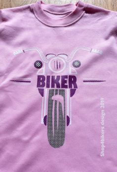 Z - Pink Purple biker motorcycle toddler baby childrens kids t-shirt 100% cotton