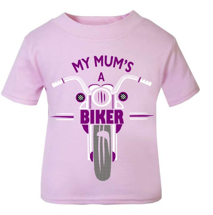 Pink purple My Mum's A Biker motorcycle childrens kids t shirt 100% cotton