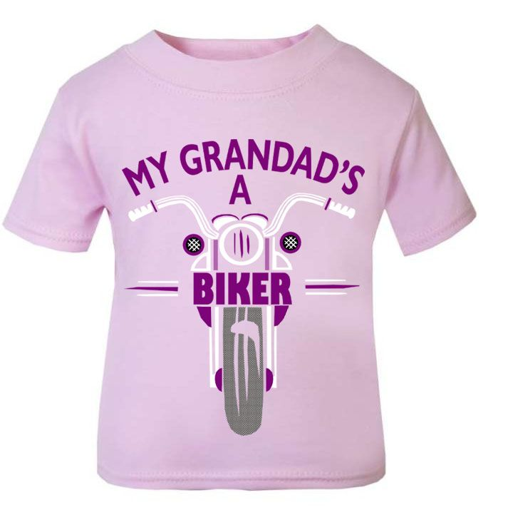 Pink purple My Grandad's A Biker motorcycle childrens kids t shirt 100% cot