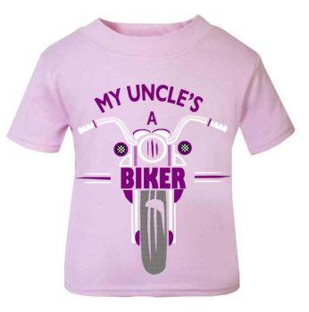 Pink purple My Uncle A Biker motorcycle childrens kids t shirt 100% cotton