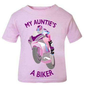 T - Pink purple My Auntie A Biker motorcycle childrens kids t shirt 100% cotton