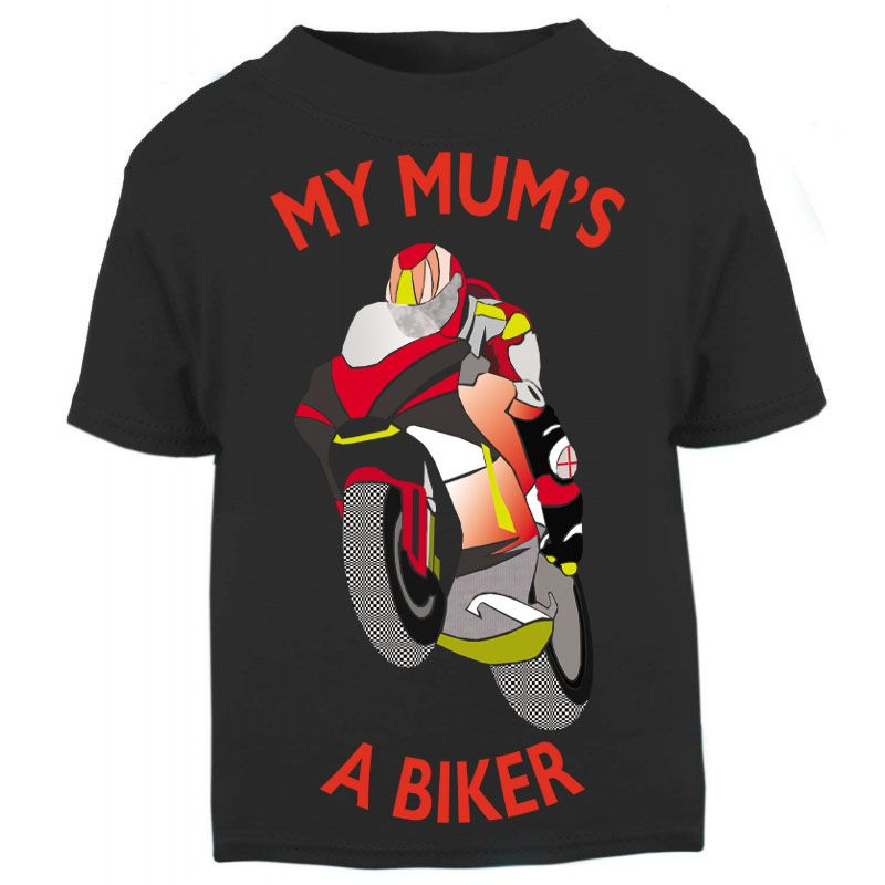 C-My Mum is a biker motorcycle toddler baby childrens kids t-shirt 100% cot