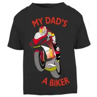 G-Black & Red My Dad A Biker motorcycle childrens kids t shirt 100% cotton