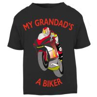 Q - My Grandad is a biker motorcycle toddler baby childrens kids t-shirt 100% cotton