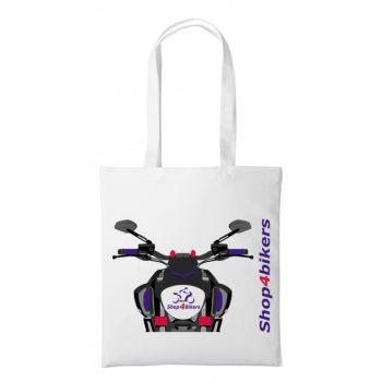 1-Shop4bikers nutshell white tote bag canvas shoulder lengthen shopping bag