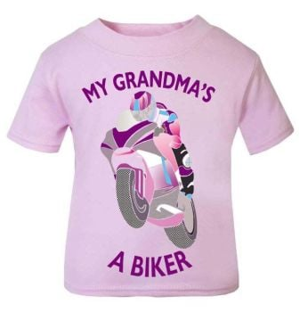 L-Pink purple My Grandma A Biker motorcycle childrens kids t shirt 100% cotton