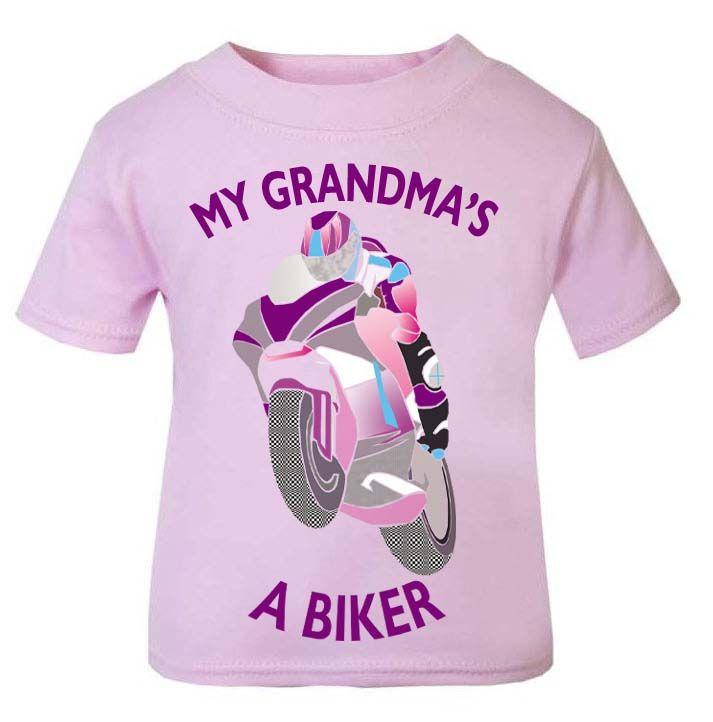 L-Pink purple My Grandma A Biker motorcycle childrens kids t shirt 100% cot