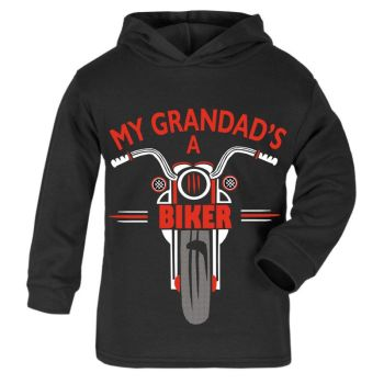 O - My Grandad is a biker motorcycle toddler baby childrens kids hoodie 100% cotton