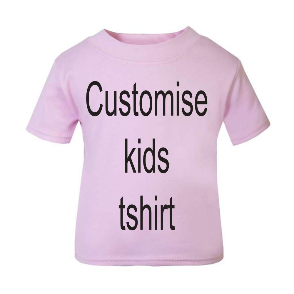 1-Personalised kids childrens pink t shirt
