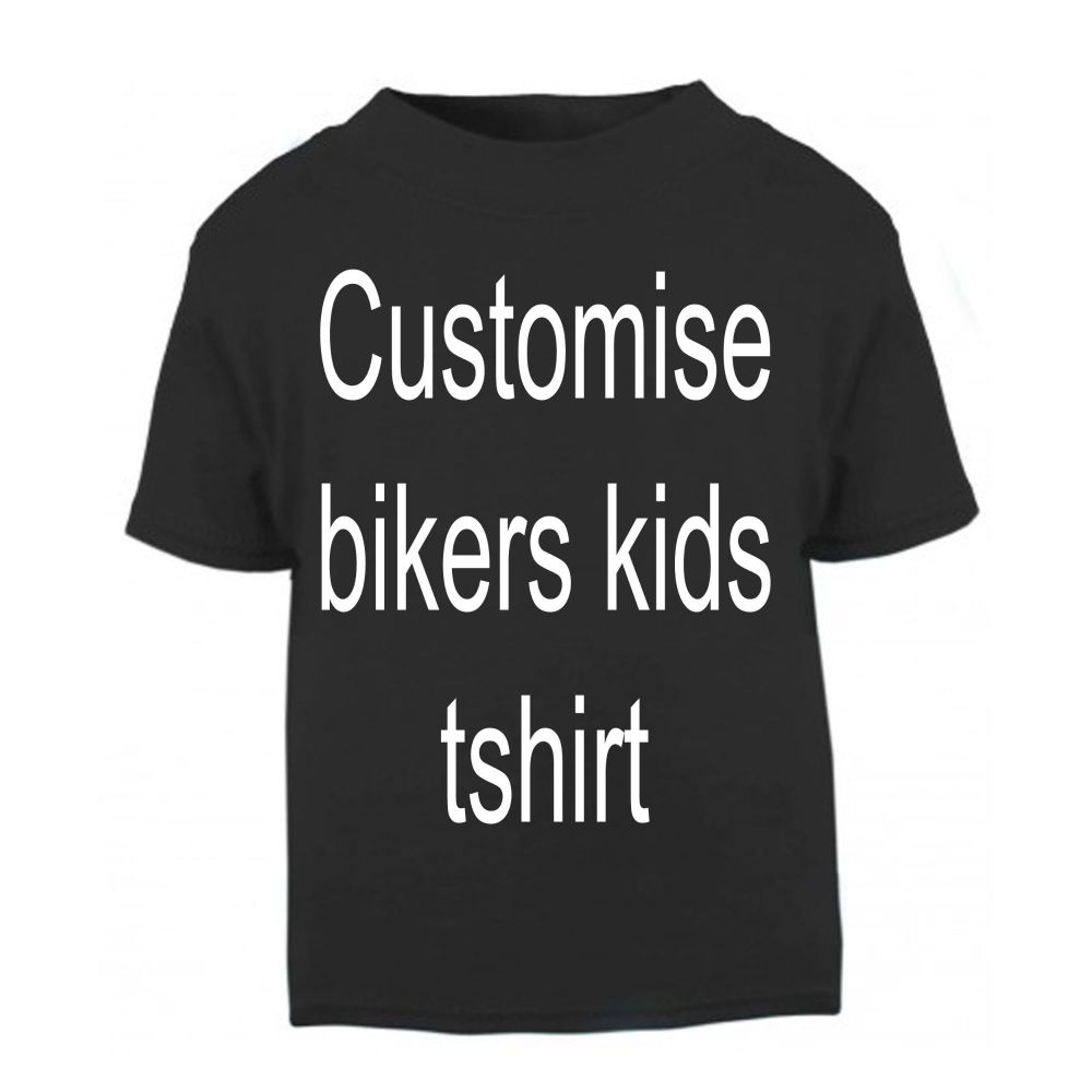 1- Personalised kids childrens black t shirt biker motorcycle present gift