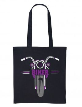 1- Purple black motorcycle bike nutshell black tote canvas shoulder shopping bag