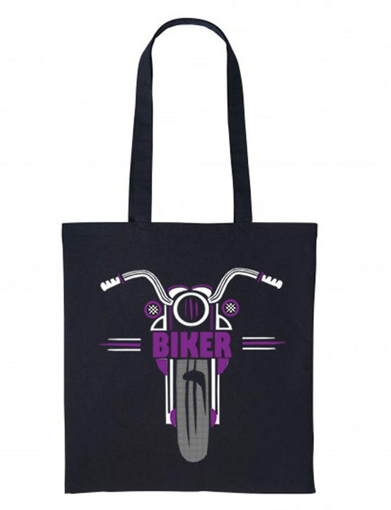 1- Purple black motorcycle bike nutshell black tote canvas shoulder shoppin