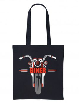 1- Red black motorcycle bike nutshell black tote canvas shoulder shopping bag