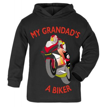 Q - My Grandad is a biker motorcycle toddler baby childrens kids hoodie 100% cotton