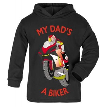 G-Black & Red My Dad A Biker motorcycle childrens kids hoodie 100% cotton