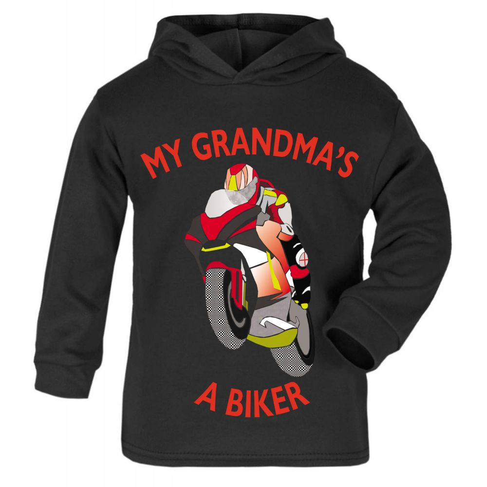 M- My Grandma is a biker motorcycle toddler baby childrens kids hoodie 100%