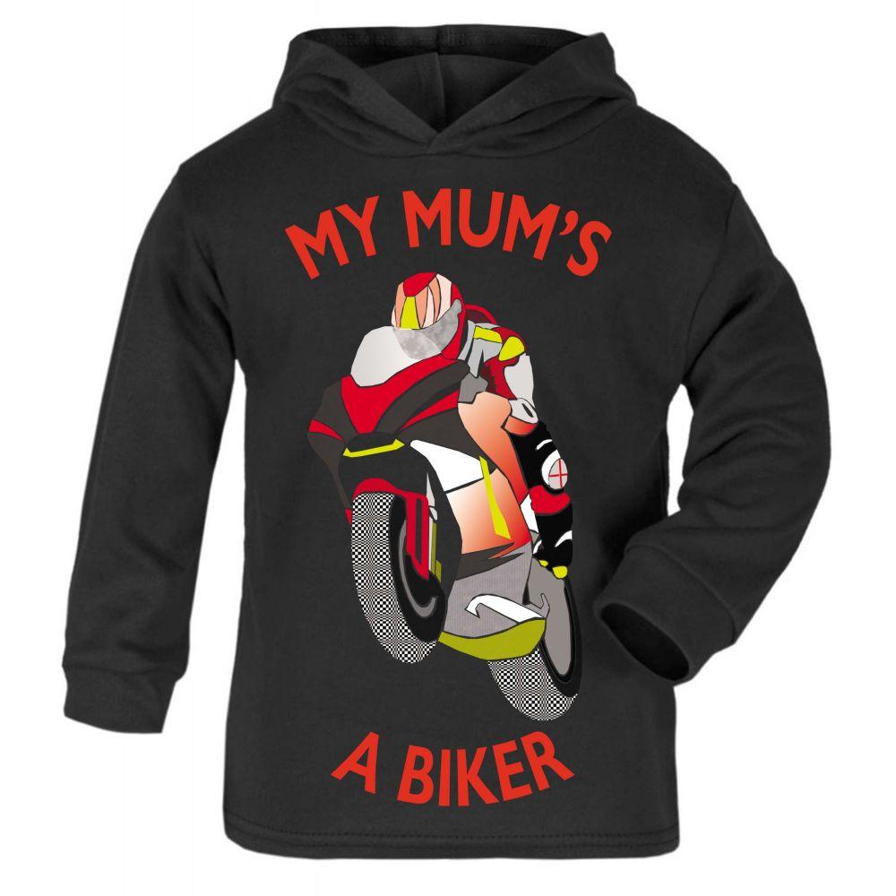 C- My Mum is a biker motorcycle toddler baby childrens kids hoodie 100% cot