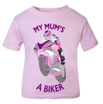 D-My Mum is a biker motorcycle toddler baby childrens kids t-shirt 100% cotton