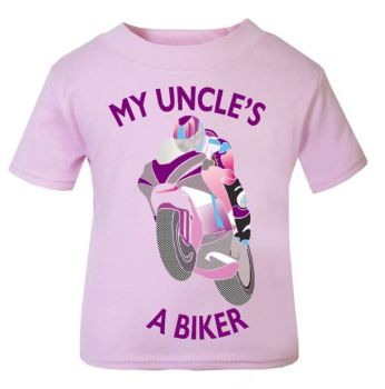 Y - Pink purple My Uncle A Biker motorcycle childrens kids t shirt 100% cotton
