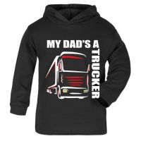 Z -My Dad's A Trucker black hoodie kids boy girl Lorry HGV Volvo Scania Iveco