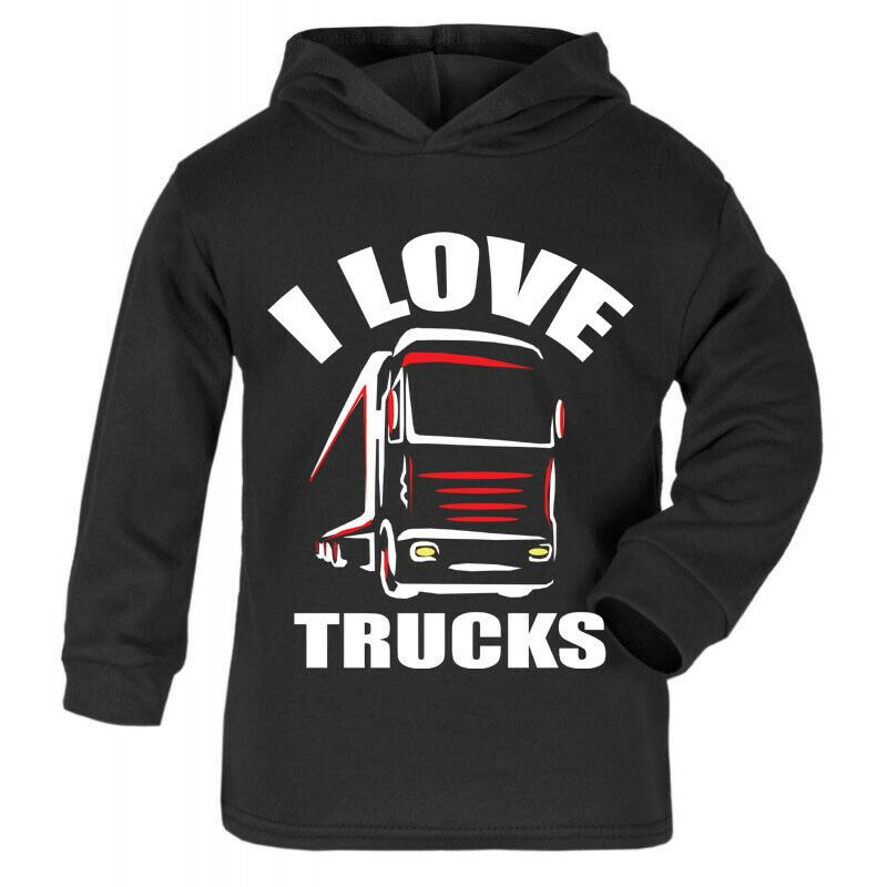 Z -I love Trucks black hoodie kids boy girl Trucker Lorry HGV Volvo Scania