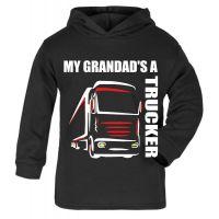 Z -My Grandad's A Trucker black hoodie kids boy girl Lorry HGV Volvo Scania Iveco