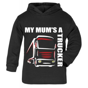 Z -My Mum's A Trucker black hoodie kids boy girl Lorry HGV Volvo Scania Iveco