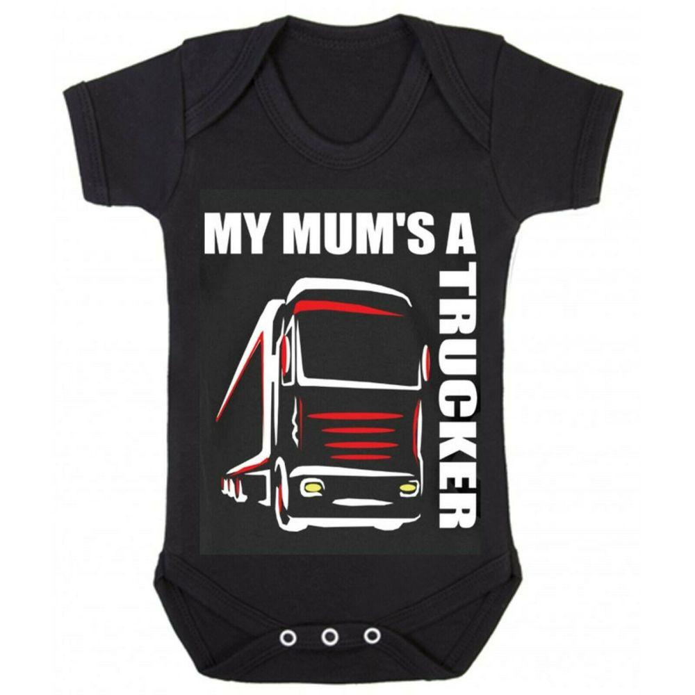 Z -My Mum's A Trucker black romper suit kids boy girl Lorry HGV Volvo Scani