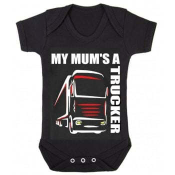 Z -My Mum's A Trucker black romper suit kids boy girl Lorry HGV Volvo Scania Iveco