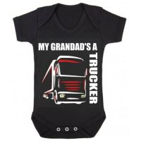 Z -My Grandad's A Trucker black romper suit kids boy girl Lorry HGV Volvo Scania Iveco