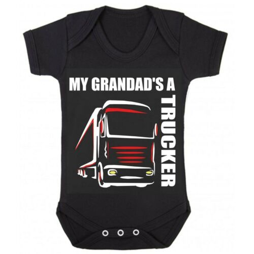 Z -My Grandad's A Trucker black romper suit kids boy girl Lorry HGV Volvo S