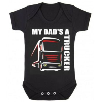 Z -My Dad's A Trucker black romper suit kids boy girl Lorry HGV Volvo Scania Iveco
