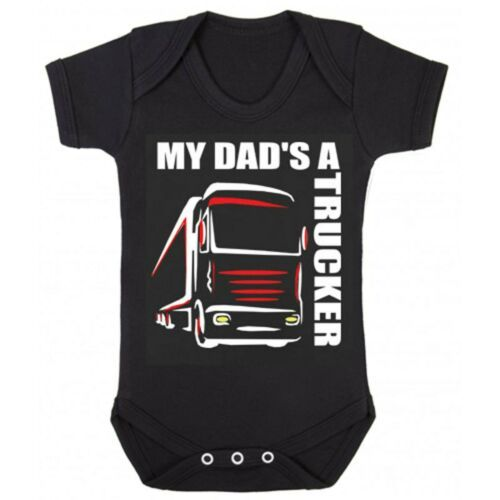 Z -My Dad's A Trucker black romper suit kids boy girl Lorry HGV Volvo Scani