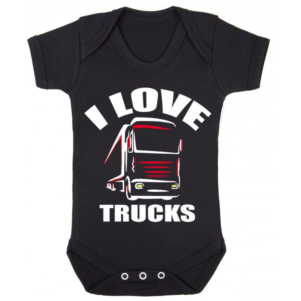Z -I Love Trucks black romper suit kids boy girl trucker Lorry HGV Volvo Sc