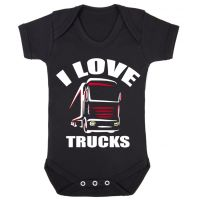 Z -I Love Trucks black romper suit kids boy girl trucker Lorry HGV Volvo Scania Iveco