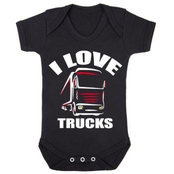 Z -I Love Trucks black romper suit kids boy girl trucker Lorry HGV Volvo Scania Iveco