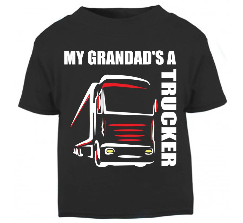Z - My Grandad's A Trucker black t shirt kids boy girl Lorry HGV Volvo Scan