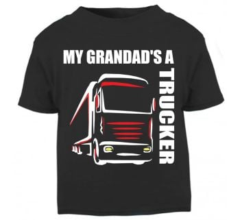 Z - My Grandad's A Trucker black t shirt kids boy girl Lorry HGV Volvo Scania Iveco