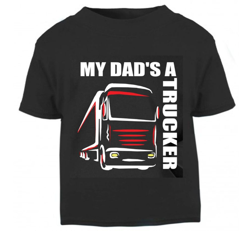 Z - My Dad's A Trucker black t shirt kids boy girl Lorry HGV Volvo Scania I