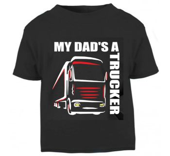 Z - My Dad's A Trucker black t shirt kids boy girl Lorry HGV Volvo Scania Iveco