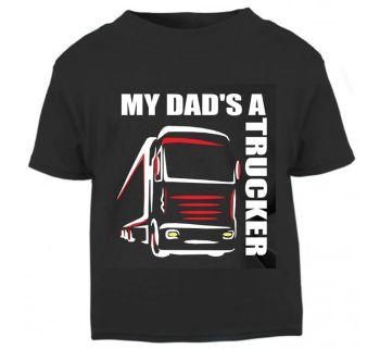 Z - My Dad's A Trucker black t shirt kids boy girl Lorry HGV Volvo Scania Iveco