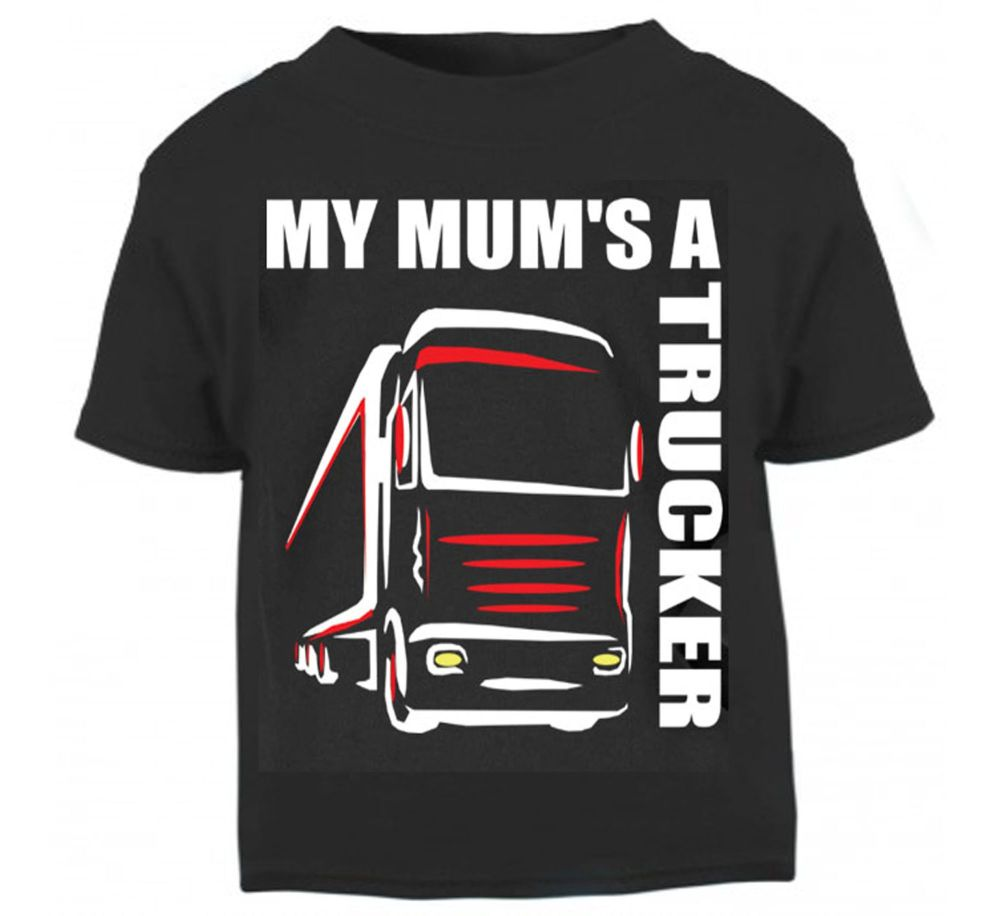 Z - My Mum's A Trucker black t shirt kids boy girl Lorry HGV Volvo Scania I