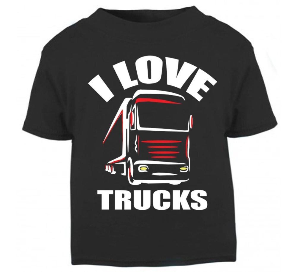 Z - I Love Trucks black t shirt kids boy girl Trucker Lorry HGV Volvo Scani