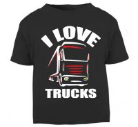 Z - I Love Trucks black t shirt kids boy girl Trucker Lorry HGV Volvo Scania Iveco