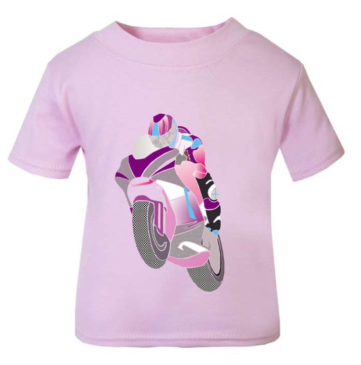 1- Personalised kids childrens pink t shirt sports biker motorcycle present