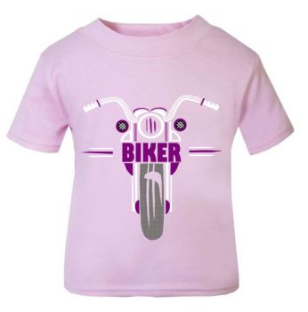 1- Personalised kids childrens pink t shirt retro biker motorcycle present gift ideal