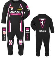 3-Motorcycle Baby grow babygrow Dukati Racing Race Pink romper suit made UK