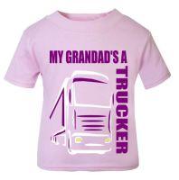 Z - My Grandad's A Trucker pink t shirt kids girl Lorry HGV Volvo Scania Iveco